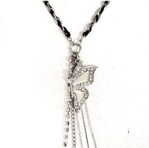 Guess Butterfly Necklace Diamonds w/ Opal like Gem